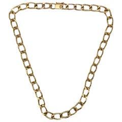 18 Karat Yellow Gold Open Link Vintage Chain Necklace