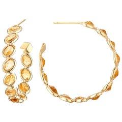 Paolo Costagli 18 Karat Yellow Gold Orange Sapphire Ombre Hoop Earrings, Medium