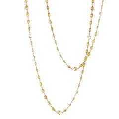 18 Karat Yellow Gold Orange Sapphire, 45.78 Carat Ombré Sautoir Necklace