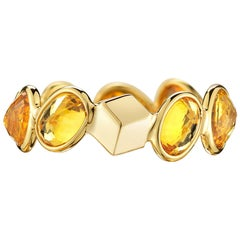 Paolo Costagli 18 Karat Yellow Gold Orange Sapphire, 4.86 Carat Ombre Ring