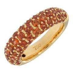 18 Karat Yellow Gold Orange Sapphire Bombe' Band Ring