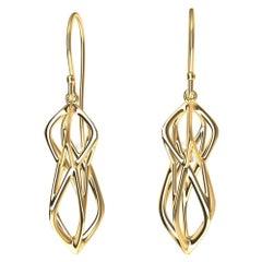 18 Karat Yellow Gold Organic Angled Dangle Earrings