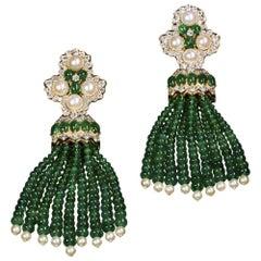 Veschetti 18 Kt Yellow Gold, Oriental Pearl, Emerald and Diamond Dangle Earrings