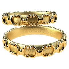 18 Karat Yellow Gold Ornamental Gate Wedding Bands