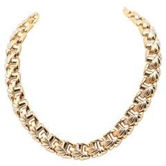 18 Karat Yellow Gold Ornate Custom Link Collar Necklace