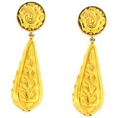 18 Karat Yellow Gold Ornate Drop Earrings