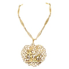 18 Karat Yellow Gold Ornate Open Designed Lady at the River Necklace