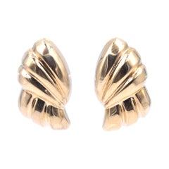 18 Karat Yellow Gold Ornate Ribbon Earrings