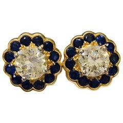 18 Karat Yellow Gold Oscar Heyman 2.68 Total Carat Diamond and Sapphire Earrings