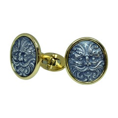 18 Karat Yellow Gold Oval Baroque Mask Cufflinks