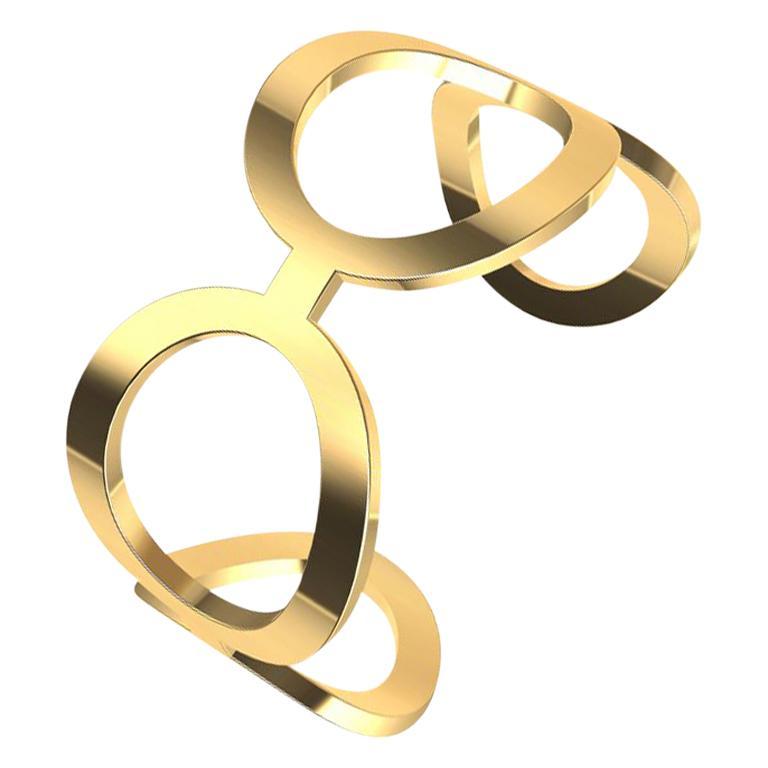 18 Karat Yellow Gold Oval Cuff Bracelet