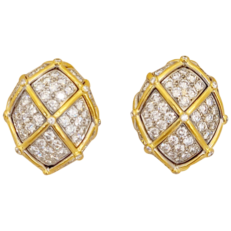 18 Karat Yellow Gold Oval Dome 5.60 Carat Diamond Earrings