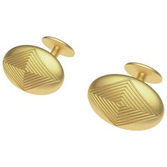18 Karat Yellow Gold Oval Domed Cufflinks