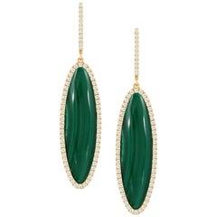 18 Karat Yellow Gold Oval Drop Earrings with Cabochon Malachite and Diamonds