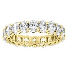 18 Karat Yellow Gold Oval Eternity Diamond Ring '4 Carat'