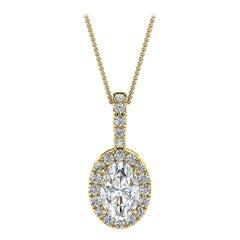 18 Karat Yellow Gold Oval Halo Diamond '1/2 Carat'
