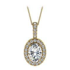 18 Karat Yellow Gold Oval Halo Diamond '3/4 Carat'
