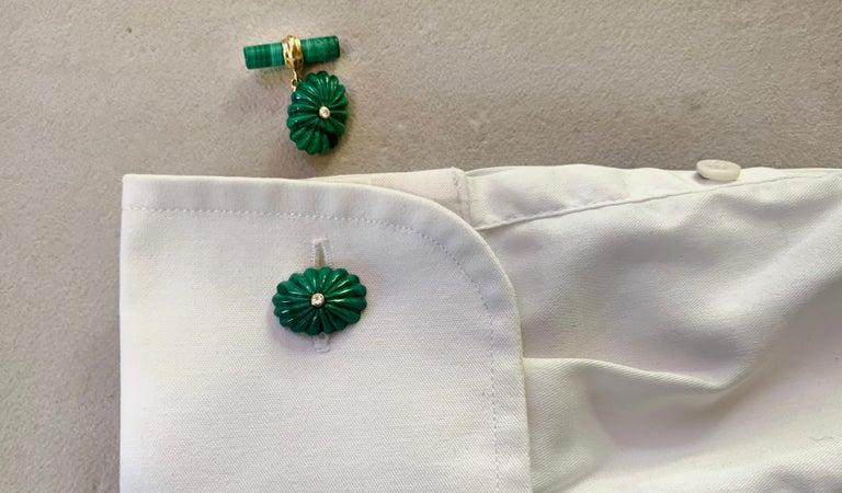 18 Karat Yellow Gold Oval Hand Carved Malachite White Diamonds Cufflinks For Sale 1