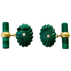 18 Karat Yellow Gold Oval Hand Carved Malachite White Diamonds Cufflinks