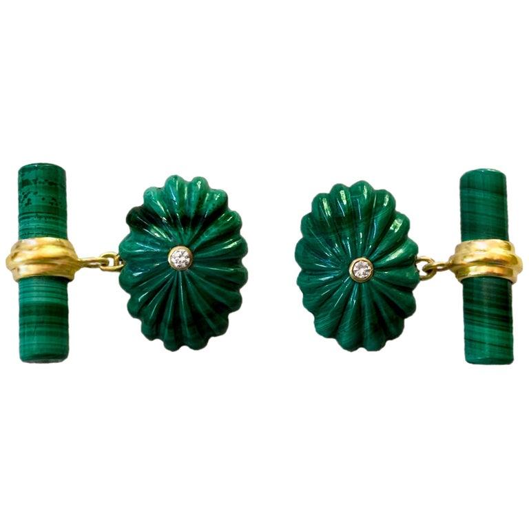 18 Karat Yellow Gold Oval Hand Carved Malachite White Diamonds Cufflinks For Sale