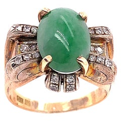 18 Karat Yellow Gold Oval Jade Solitaire Ring with Diamond Accents