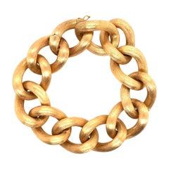 18 Karat Yellow Gold Oval Link Bracelet 56.4 Grams