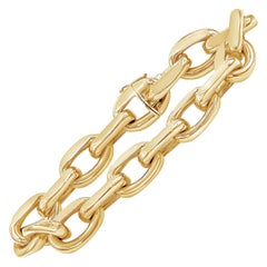 18 Karat Yellow Gold Oval Link Bracelet