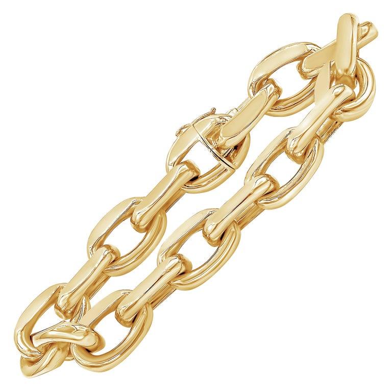 18 Karat Yellow Gold Oval Link Bracelet For Sale