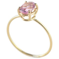 18 Karat Yellow Gold Oval Pink Sapphire Handmade Modern Cocktail Chic Ring