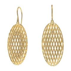 18 Karat Yellow Gold Oval Rhombus Earrings