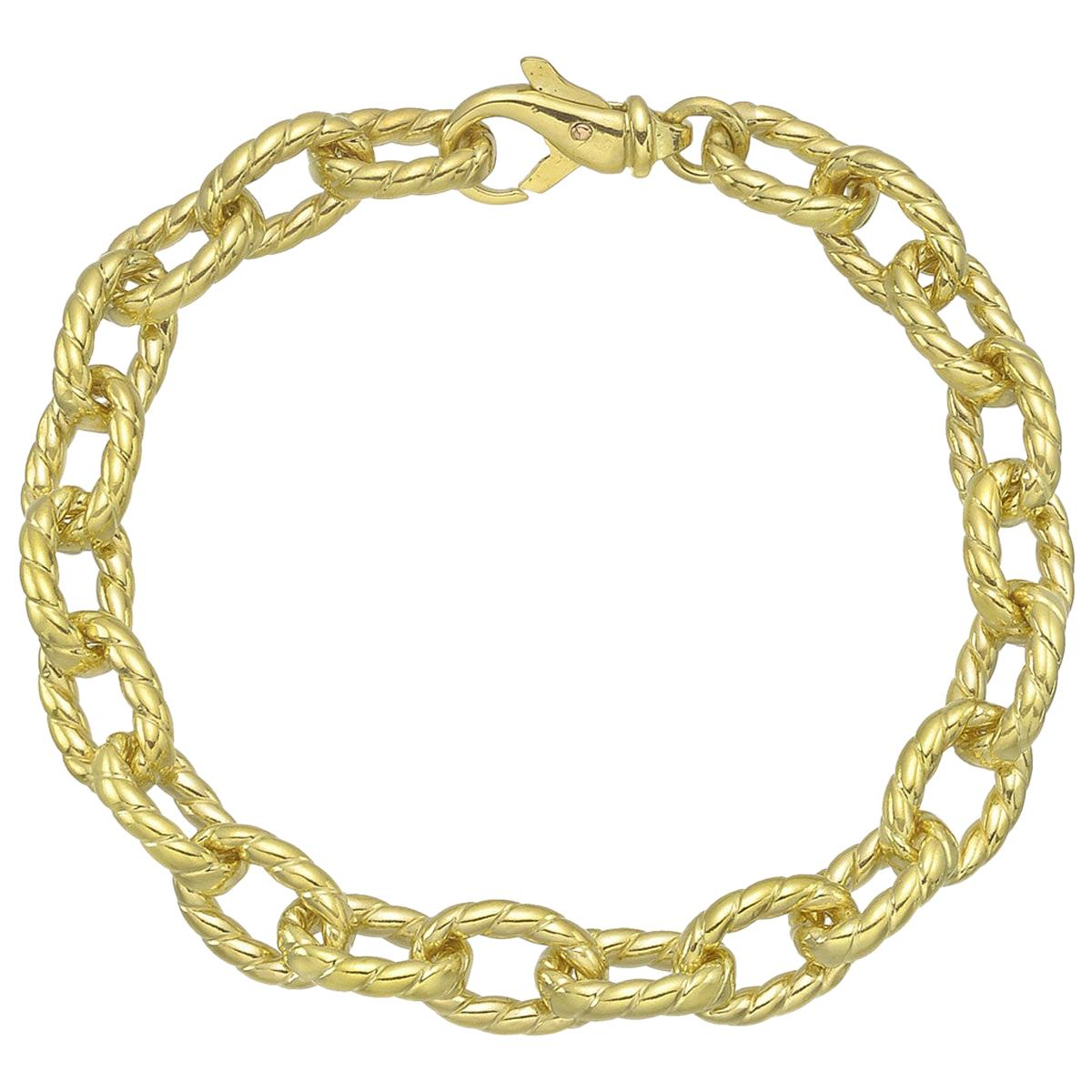18 Karat Yellow Gold Oval Twist Link Bracelet