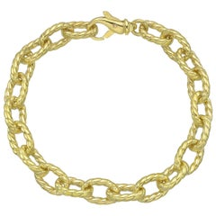 18 Karat Yellow Gold Oval Twist Link Bracelet