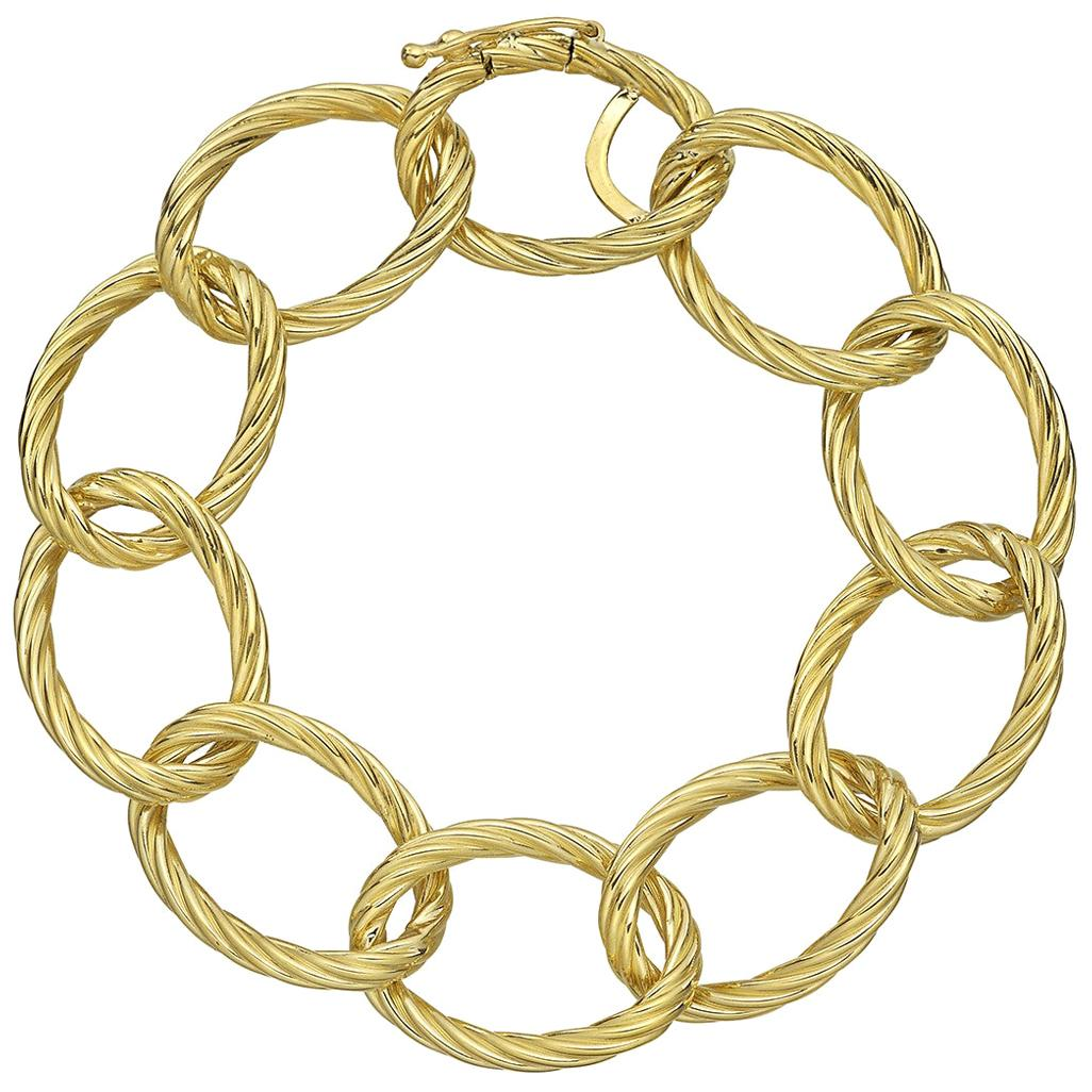 18 Karat Yellow Gold Oval Twisted Link Bracelet