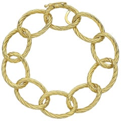 18 Karat Yellow Gold Oval Twisted Link Bracelet