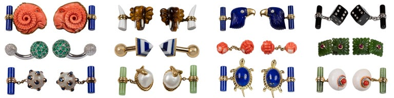 18 Karat Yellow Gold Owl in Mediterranean Coral Lapis Lazuli Diamonds Cufflinks For Sale 6