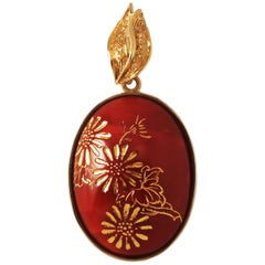 18 Karat Yellow Gold Red Coral Chrysanthemum Engraved Oval Pendant Top