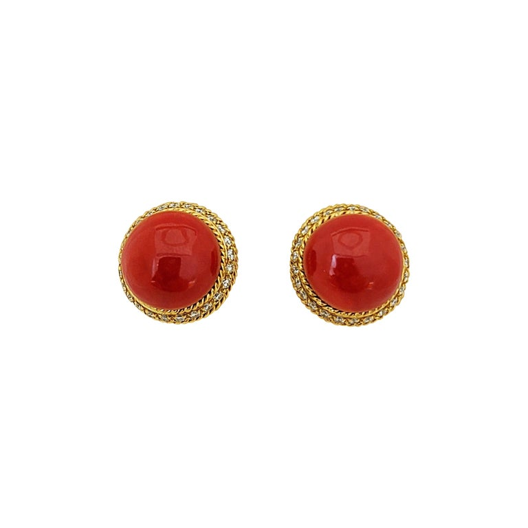18 Karat Yellow Gold Oxblood Coral Earrings with 2.08 Carat Diamonds For Sale