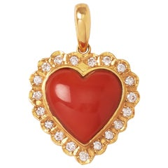 18 Karat Yellow Gold Japanese Red Coral Heart Shape Pendant Top with Diamonds