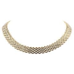 18 Karat Yellow Gold Panther Link Collar Necklace