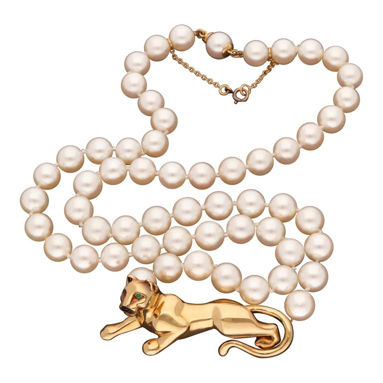 18 Karat Yellow Gold Panther Pearls Necklace by Cartier