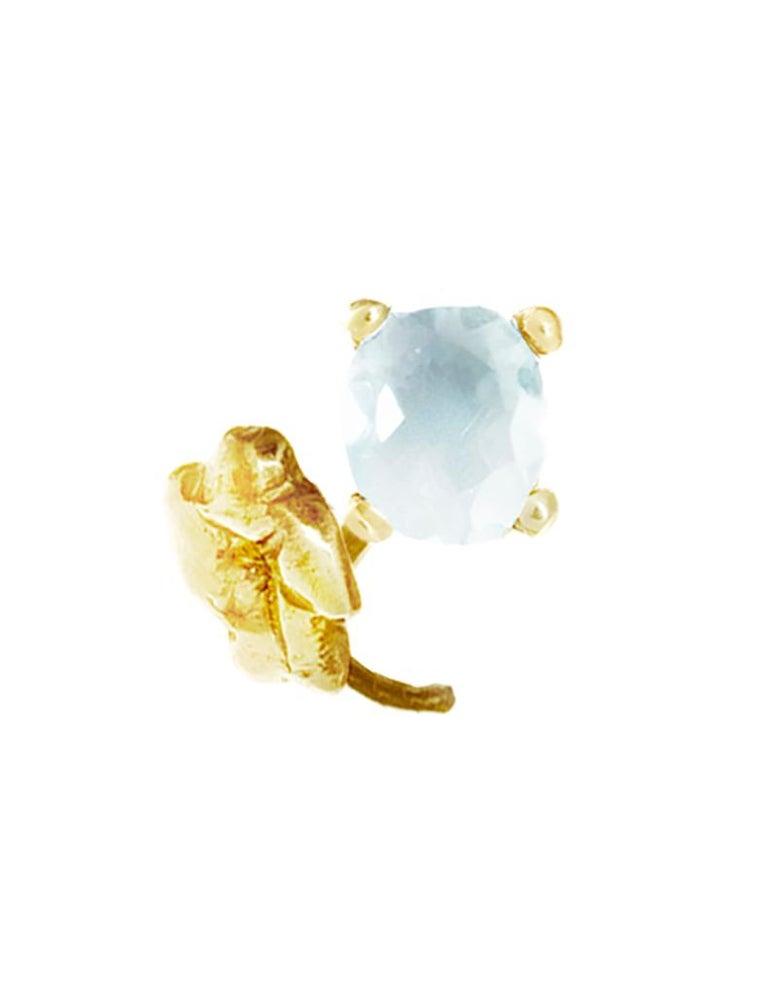 18 Karat Yellow Gold Paraiba Tourmaline Heliotrope Stud Earrings In New Condition For Sale In Berlin, Berlin