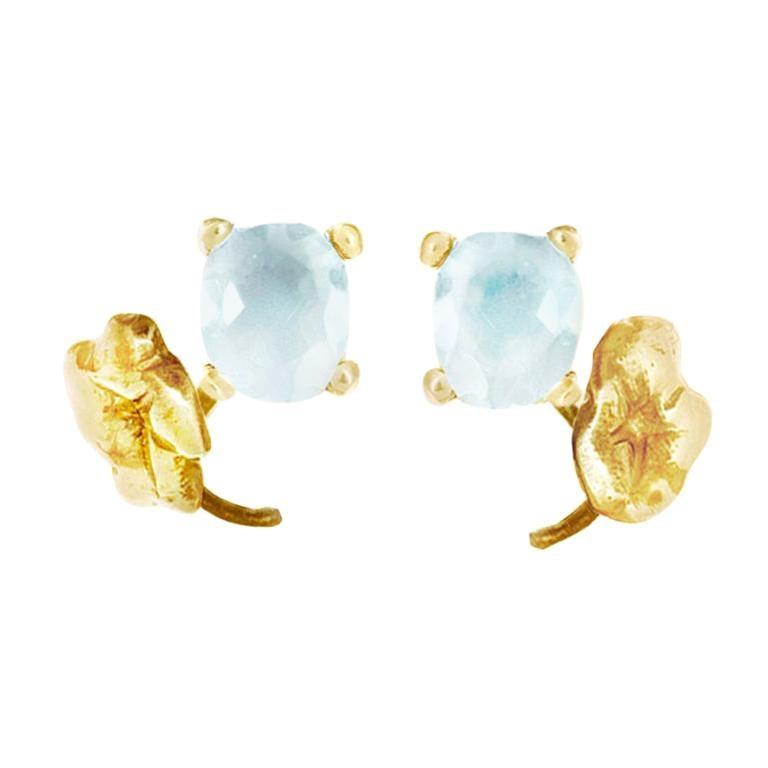 18 Karat Yellow Gold Paraiba Tourmaline Heliotrope Stud Earrings For Sale