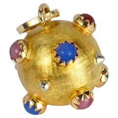 18 Karat Yellow Gold Paste Gem Sputnik Sphere Charm Pendant