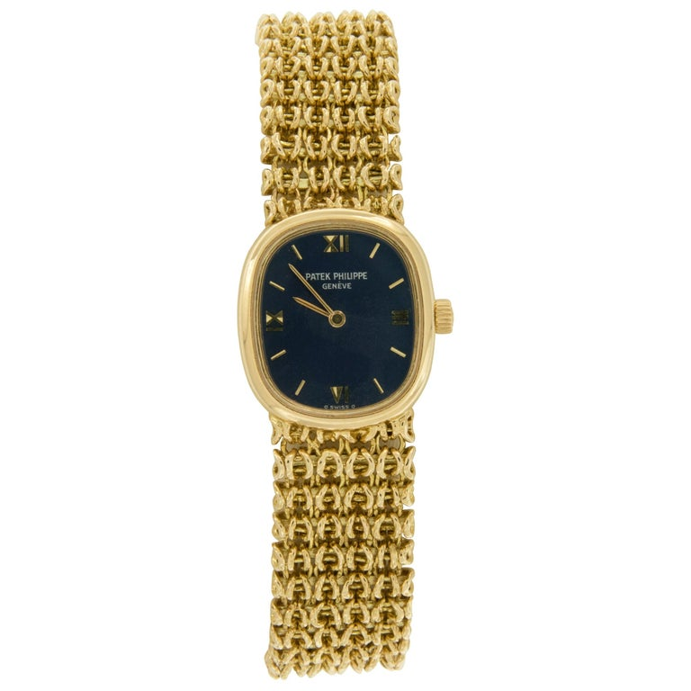18 Karat Yellow Gold Patek Philippe Golden Ellipse Mechanical Watch For Sale