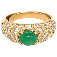 18 Karat Yellow Gold Pave Diamond and Emerald Cabochon Ring