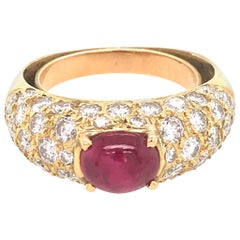 18 Karat Yellow Gold Pave Diamond and Ruby Cabochon Ring