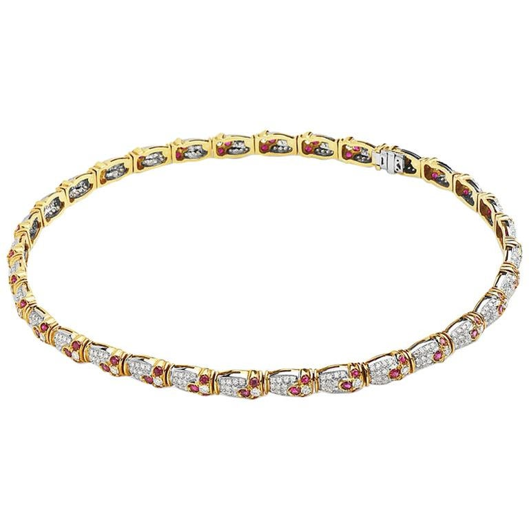 18 Karat Yellow Gold Pave Diamond and Ruby Choker For Sale
