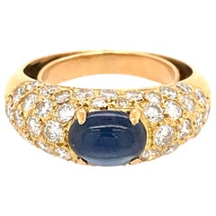 18 Karat Yellow Gold Pavé Diamond and Sapphire Cabochon Ring