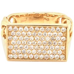 18 Karat Yellow Gold Pave' Diamond Bar Made in Italy with Box