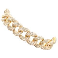 18 Karat Yellow Gold Pave Diamond Cuban Link Bracelet